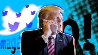 Montagem com Donald Trump e o logo do Twitter