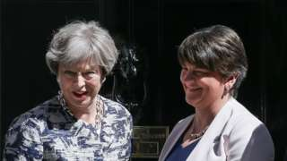 UK Prime Minister Theresa May with DUP leader Arlene Foster
