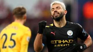 Sergio Aguero celebrates scoring for Manchester City against Aston Villa