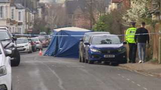 A police tent and cordon on Southfield Road