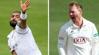 Jeetan Patel (left) took ?-?? to follow Gareth Batty's career-best 8-64 as wickets fell to off spin at Edgbaston in the day