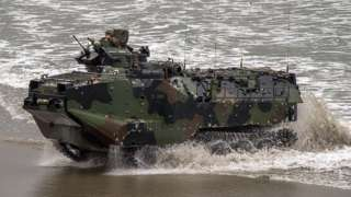 File image of US amphibious assault vehicle near Camp Pendleton, California in 2014