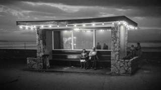 Beach shelter at night in Rhyl