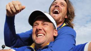Ian Poulter and Tommy Fleetwood celebrate after Europe beat US to win Ryder Cup