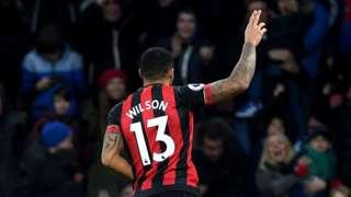 Bournemouth's Callum Wilson celebrates his goal against West Ham