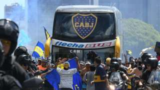 The Boca Juniors team bus ahead of the Copa Libertadores final second leg.