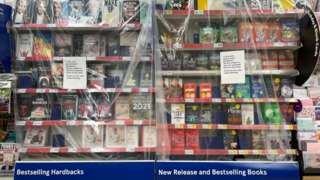Books covered in cellophane in Penarth's Tesco