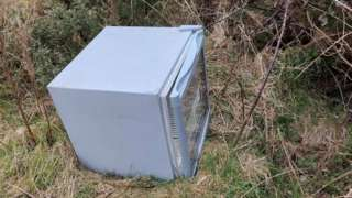 Fridge discarded in the countryside at Ballaugh