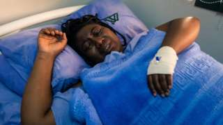 Joana Mamombe a Movement for Democratic Change (MDC) Alliance member of Parliament lying on a hospital bed at a private hospital in Harare on May 15, 2020
