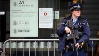 Policewoman outside Christchurch High Court, 24 August 2020
