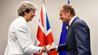 Theresa May and Donald Tusk in October