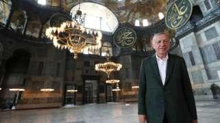 президент Эрдоган в бывшем соборе Святой Софии
