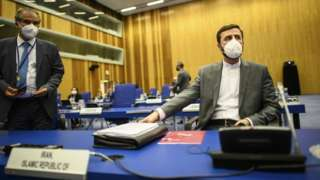 Iran's ambassador to the International Atomic Energy Agency (IAEA), Kazem Gharibabadi, attends a Board of Governors meeting in Vienna, Austria (7 June 2021)