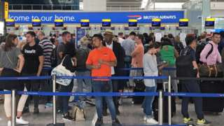 "Queues in Terminal 5 at Heathrow airport as the UK""s biggest airport has apologised after extreme weather conditions across Europe caused flight cancellations and delays."