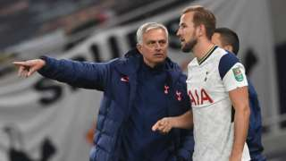 Tottenham head coach Jose Mourinho and forward Harry Kane