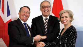 Liam Fox, Swiss Economic Minister Guy Parmelin and Liechtenstein's Minister for Foreign Affairs, Aurelia Frick, shaking hands