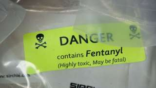 """Fentanyl bag reading """"Danger: Contains Fentanyl (highly toxic, may be fatal)"""""""