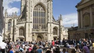 Tourist crowds in the centre of Bath