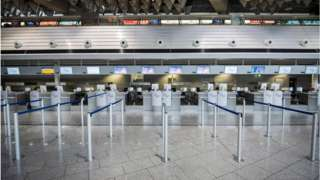 Closed counter pictured at Frankfurt Airport
