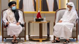 Qatar's Deputy Prime Minister and Minister of Foreign Affairs Mohammed bin Abdul Rahman Al Thani meets with Mullah Abdul Ghani Baradar, head of the Taliban's political bureau, in Doha, Qatar (17 August 2021)