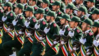 Members of Iran's Islamic Revolution Guards Corps (IRGC) at a parade on 22 September 2018