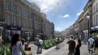 Artist's impression of a pedestrianised Grey Street
