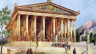 """Le temple d'Artémis, Ephèse. Illustration tirée de """"Merveilles du passé"""", 1933-1934."""