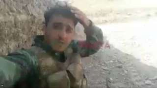 Still from video posted by Syrian fighter Mustafa Qanti during battle for Nagorno-Karabakh
