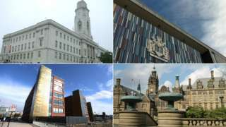 (Clockwise) Council offices in Barnsley, Doncaster, Rotherham and Sheffield
