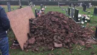 Mound of earth on top of Mr Hegarty's grave