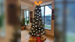 Christmas tree adorned with images of suspects