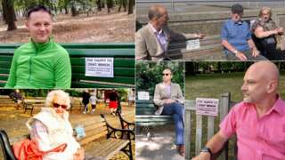 collection of photos of people on benches