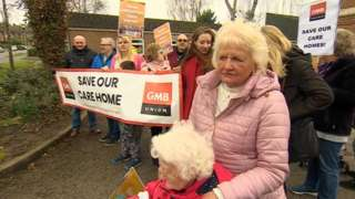 Protesters at the care home