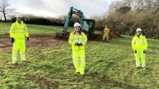 MP Cherilyn Mackrory, Highways England Senior Project Manager Josh Hodder and Costain Senior Project Manager John Lee