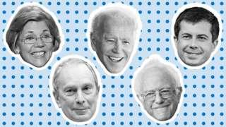 Elizabeth Warren, Bernie Sanders, Pete Buttigieg, Michael Bloomberg, Joe Biden