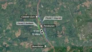 map o Pendeulwyn
