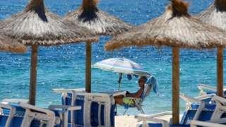Umbrellas on a Spanish beach