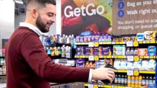 Tesco handout photo of a customer using the Tesco GetGo store in Holborn, London