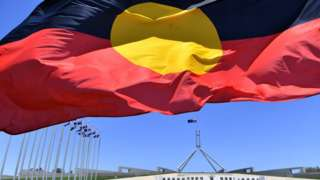 Aboriginal flag in front of Parliament House in Canberra