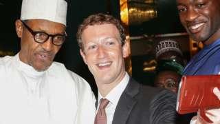 Nigeria's President Muhammadu Buhari (L) and Facebook head Mark Zuckerberg pictured in 2016