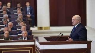 Belarusian President Alexander Lukashenko speaking to parliamentarians