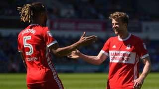 Patrick Bamford (right) celebrates scoring for Middlesbrough against Ipswich