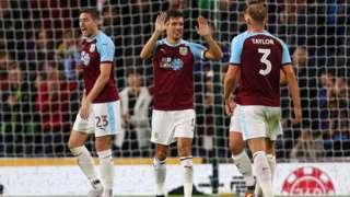 Burnley players celebrate