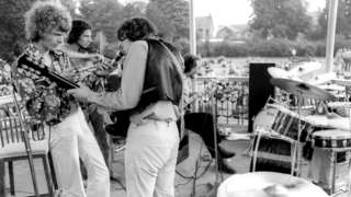 David Bowie performing from Beckenham bandstand