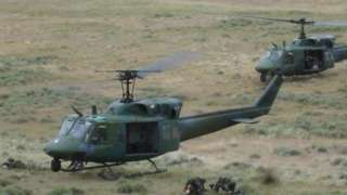 A US Air Force photo of UH-1N helicopters