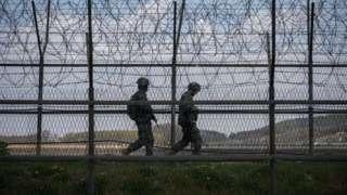 South Korean troops patrol the DMZ