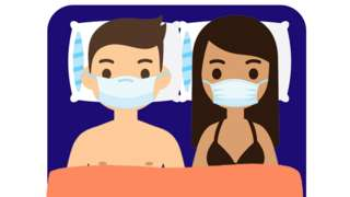 Two people with face masks on in bed
