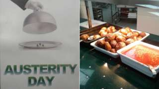 Austerity day poster and a picture of baked beans
