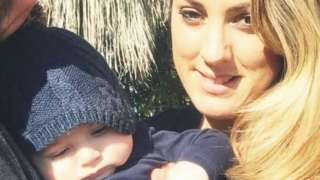Gabrielle Olmez with her son