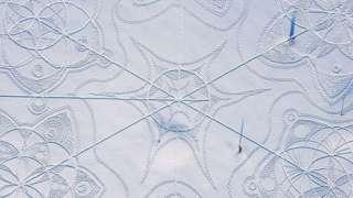 A bird's-eye view of the snow art created by Janne Pyykkö